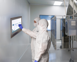 HMI monitor for in-wall mounting in cleanroom