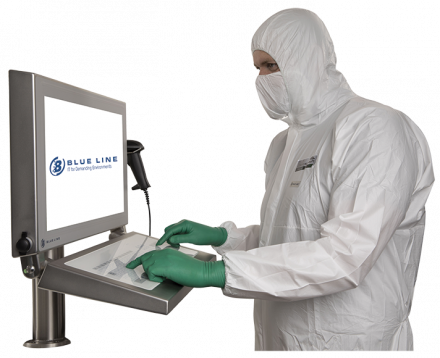Using screen with gloves in cleanroom