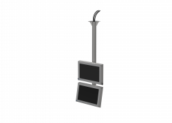 Ceiling or pedestal mounting for dual HMIs vertical